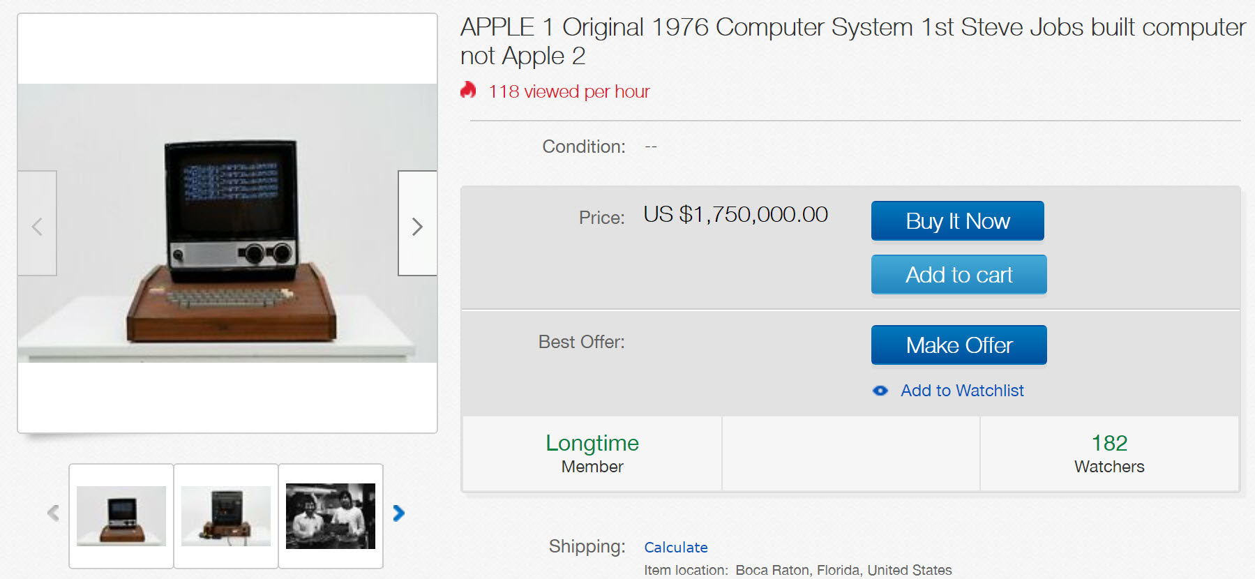 Cât mai costă primul computer Apple în ziua de azi? Apple-1 datează din 1976 şi e pe eBay