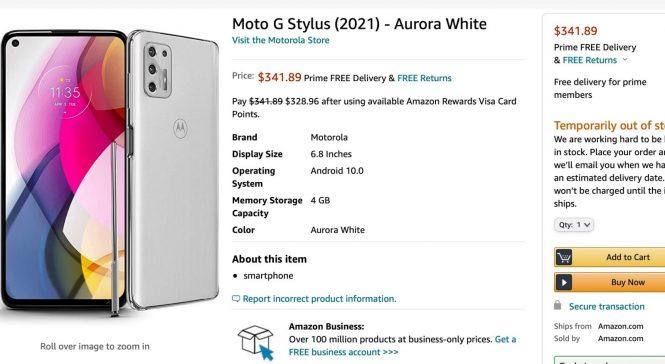 Moto G Stylus 2021 - listare Amazon